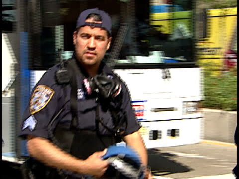 stockvideo's en b-roll-footage met september 17 2001 ts police officers walking past / new york city new york united states - triage