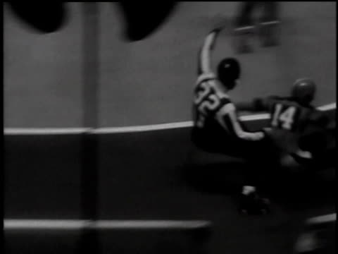 stockvideo's en b-roll-footage met september 19, 1949 montage women competing in roller derby match in new york / new york, united states - 1949