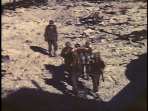 september 1944 montage marines carrying wounded comrade on stretcher / peleliu palau - stretcher stock videos and b-roll footage