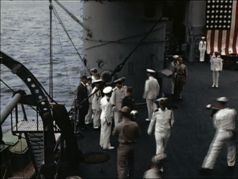 september 2 1945 high angle wide shot us and japanese naval officers aboard uss portland / truk atoll - japanese surrender stock videos & royalty-free footage