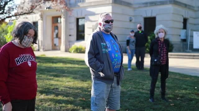 september 20, 2020; bloomington, indiana: bloomington community members hold a vigil for the late supreme court justice ruth bader ginsberg at the... - supreme court justice stock videos & royalty-free footage