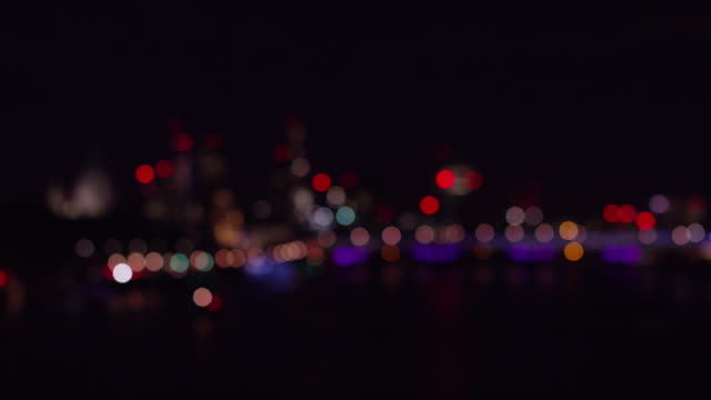 September 2015 London: City skyline at night from Waterloo Bridge focus pull - Red Dragon