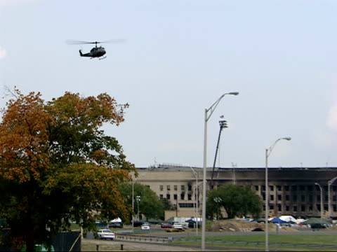 september 21 2001 ts helicopter landing at pentagon crash site / arlington virginia united states - the pentagon stock videos & royalty-free footage