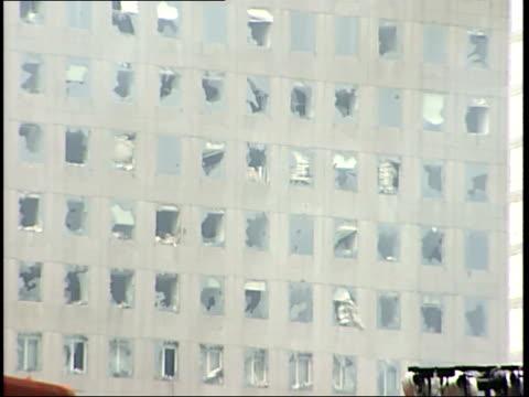 september 21, 2001 office building with blown out windows and smoldering rubble in manhattan following 9/11 terror attack / new york city, new york,... - 2001 bildbanksvideor och videomaterial från bakom kulisserna