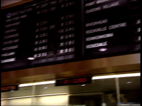 september 25 2001 pan commuters at ticket counter at penn station beneath display monitors / new york city new york united states - long island railroad stock videos & royalty-free footage