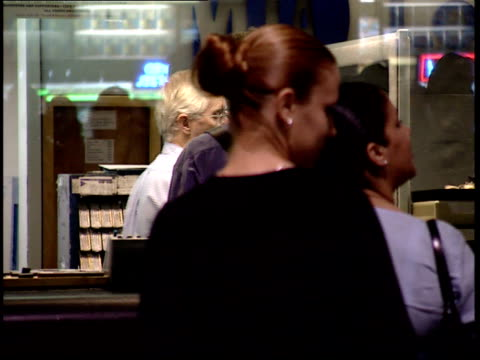 september 25 2001 ms commuters at ticket counter at penn station / new york city new york united states - long island railroad stock videos & royalty-free footage