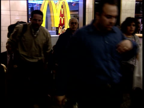september 25 2001 ts commuters walking through lobby at penn station / new york city new york united states - long island railroad stock videos & royalty-free footage