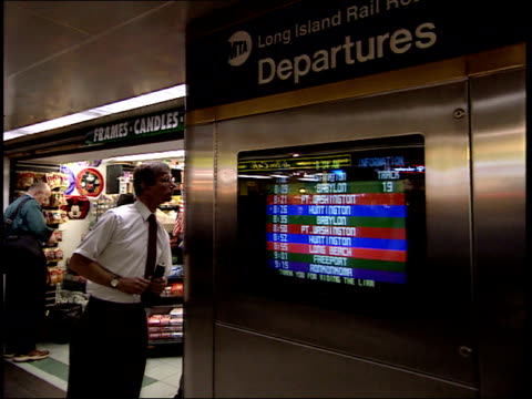 september 25 2001 zi train departures screen posting schedule / new york city new york united states - long island railroad stock videos and b-roll footage