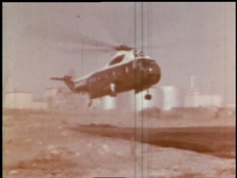 september 26 1963 montage john f kennedy arrives in a helicopter / hanford washington united states - hanford nuclear reservation video stock e b–roll