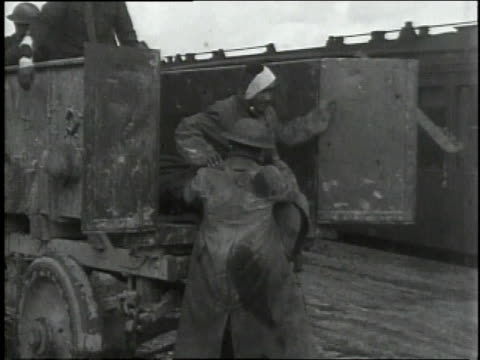 september 29, 1918 soldiers helping wounded off back of truck / souilly, meuse, france - army soldier stock videos & royalty-free footage