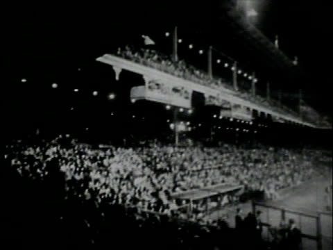 September 29 1957 FILM MONTAGE Brooklyn Dodgers at Ebbets Field for their final game before moving to Los Angeles/ WS Exterior of park/ WS Bleachers/...