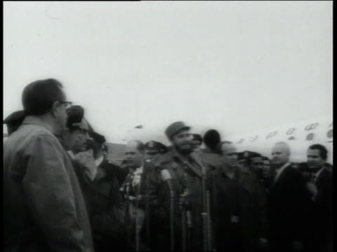 september 29, 1960 montage fidel castro speaking to audience on airport flightline / new york city, new york, united states - 1960 stock videos & royalty-free footage