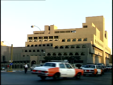 september 4 1990 zi pedestrians and vehicle traffic on a busy city street / baghdad iraq - 1990 1999 stock videos & royalty-free footage