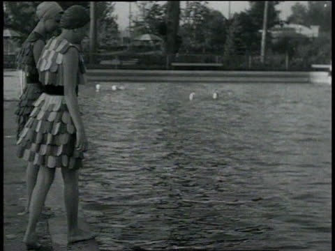 september 5, 1932 montage women wearing wooden bathing suits / portland, oregon, united states - 1932 stock videos & royalty-free footage