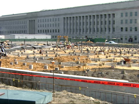 september 7, 2007 montage construction work on the 911 memorial at the pentagon / washington d.c., united states - the pentagon stock videos & royalty-free footage