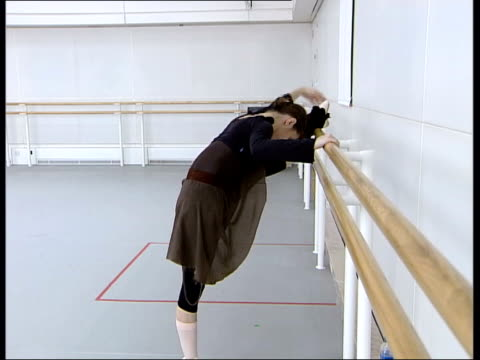 seq alina practising at barre alina cojocaru interview sot - barre stock videos & royalty-free footage