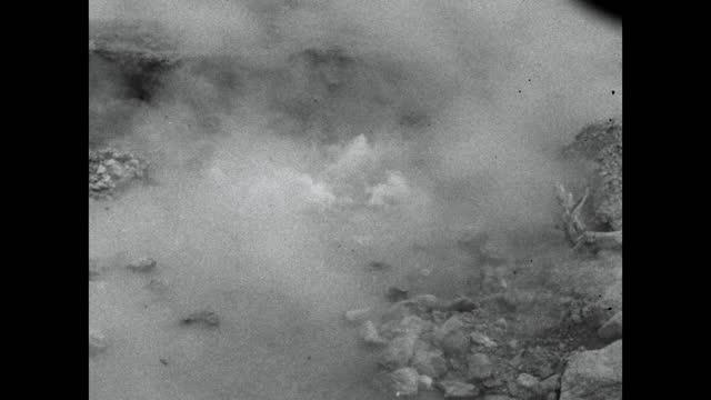 seq. boiling water and mud pools in noboribetsu, japan; 1964 - steam stock videos & royalty-free footage