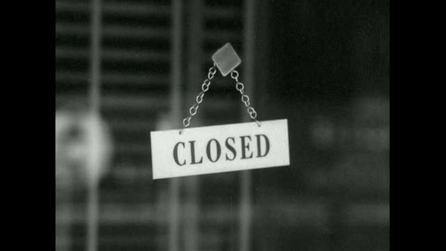 seq. of closed restaurants with closed sign in door; 1957 - blinds stock videos & royalty-free footage