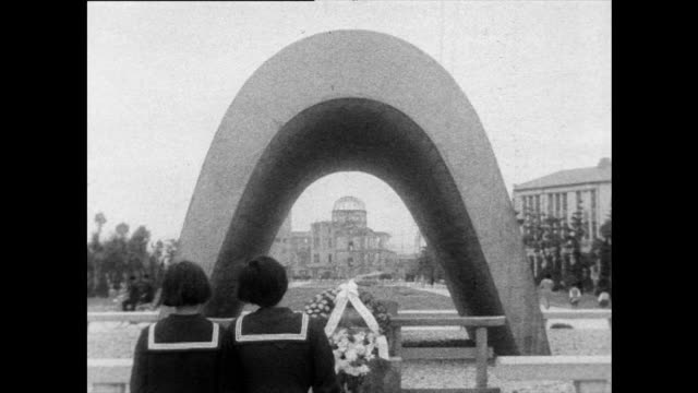seq. of memorials in hiroshima peace park; 1958 - nuclear bomb stock videos & royalty-free footage