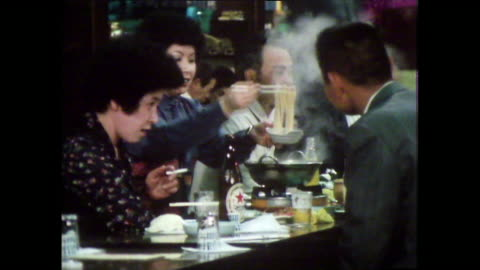 seq. people eating together in tokyo restaurant; 1981 - noodles stock videos & royalty-free footage