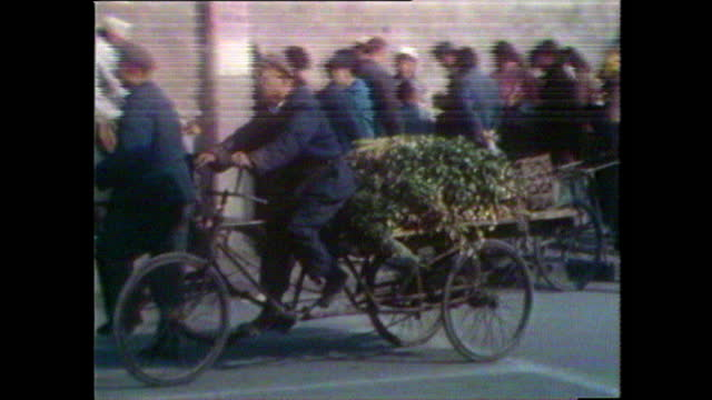 seq. showing people shopping in beijing market; 1981 - tricycle stock videos & royalty-free footage