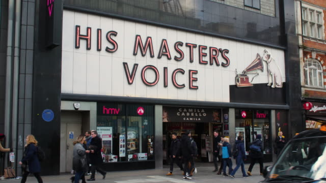 Sequence across the exterior of the HMV music store on London's Oxford Street