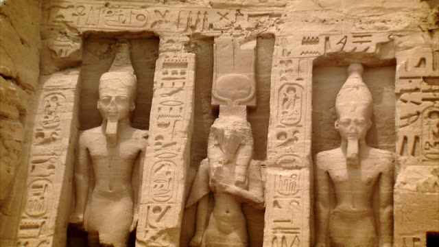 sequence across the exterior of the temple of nefertari at abu simbel, southern egypt. - antiquities stock videos & royalty-free footage