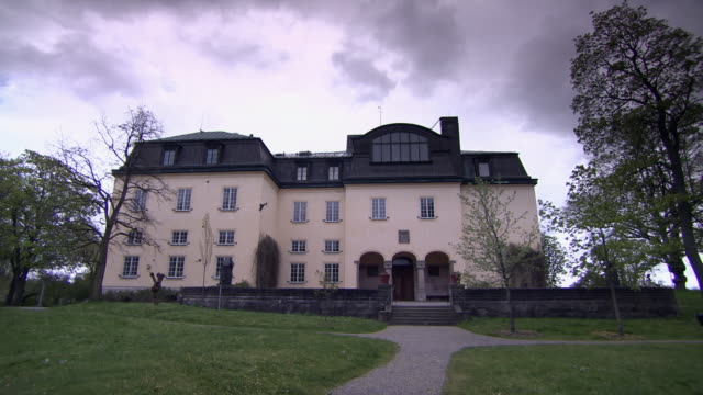 sequence across the exterior of waldemarsudde, a museum and former home of prince eugen of sweden. - scandinavian culture stock videos and b-roll footage