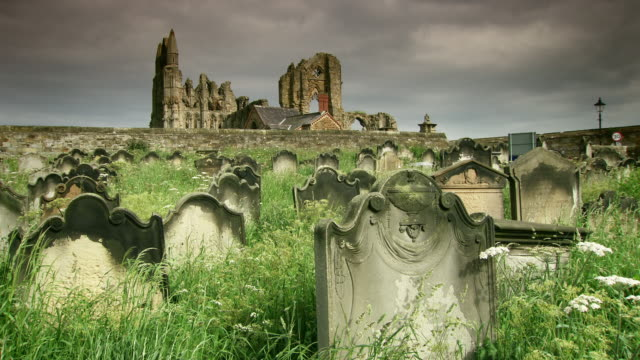 stockvideo's en b-roll-footage met sequence around whitby and its famous abbey and graveyard. - graaf dracula