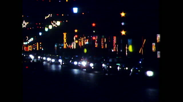 sequence decorative lights during blackpool illuminations, uk; 1982 - ブラックプール点の映像素材/bロール