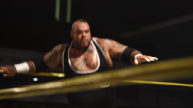 Sequence from an American style professional wrestling match in Portsmouth UK featuring for World Wrestling Entertainment wrestler Brodus Clay...