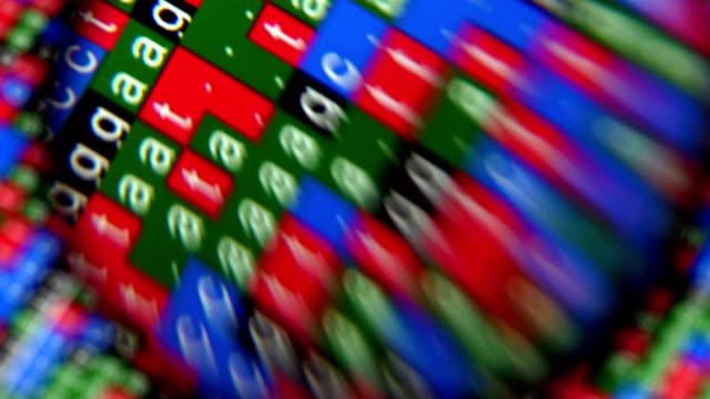 拡大鏡のガラスの下でバック グラウンドで dna シーケンス - dna鑑定点の映像素材/bロール