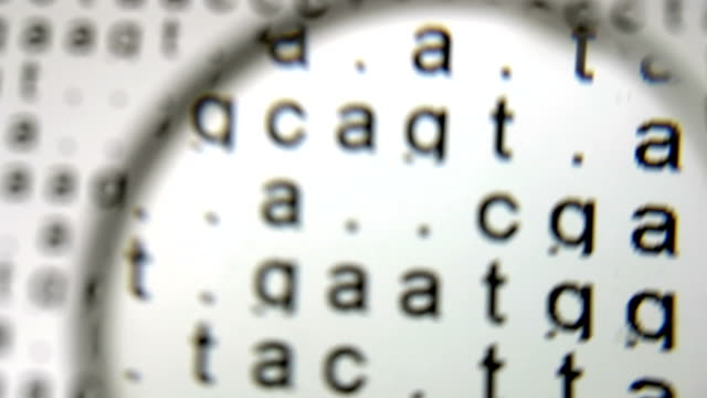 vídeos de stock e filmes b-roll de dna sequence in the background under magnifier glass - lupa