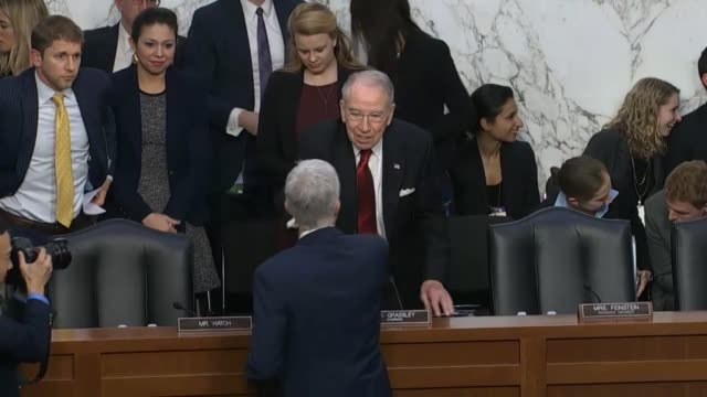 sequence includes the seal of the united states senate exchanges between supreme court nominee neil gorsuch and democratic party members and greeting... - senate judiciary committee stock videos & royalty-free footage