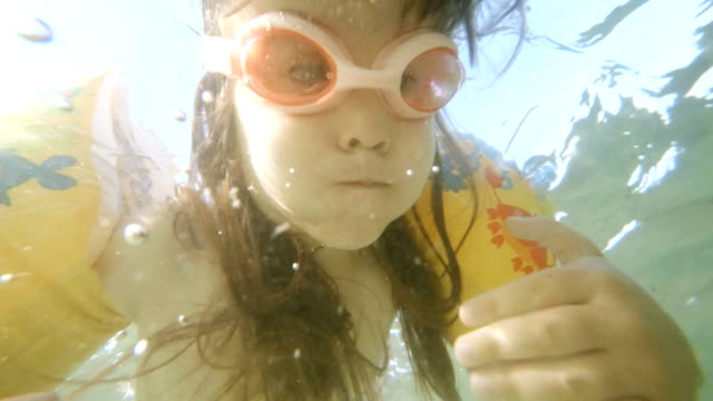 HD Sequence. Little Girl Swimming, Supportive Father, Underwater