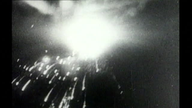 sequence of aerials showing the incendiary bombs, fires and explosions during the raf air raid on dresden in world war 2; 1945. - 1945 stock videos & royalty-free footage