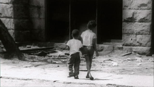 b&w sequence of chicago slums in 1964 - rubble stock videos & royalty-free footage