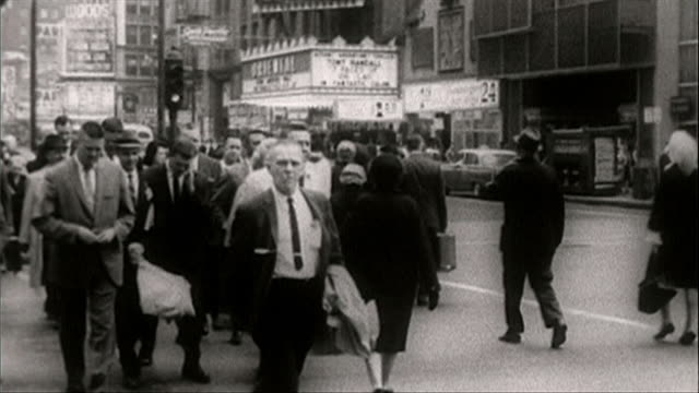 b&w sequence of chicago street gvs and people; 1964 - 1964 stock videos and b-roll footage