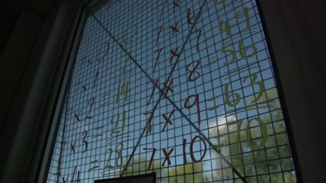 vídeos de stock e filmes b-roll de sequence of classroom items including multiplications artwork sandpit and numbers at primary school in bury - equipamento de parque infantil