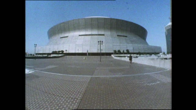 sequence of exterior fish-eye shots of the superdome stadium in new orleans, usa; 1983. - gulf coast states stock videos & royalty-free footage