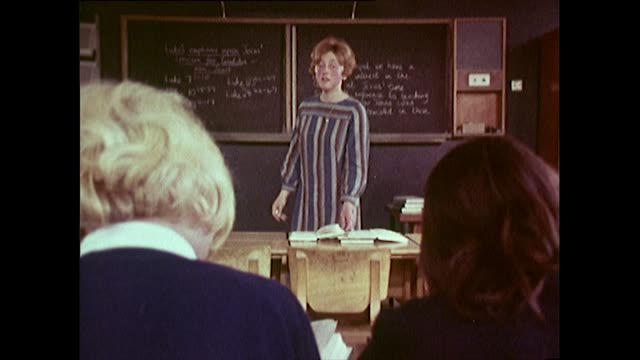 sequence of female teacher and bored schoolgirls in 1968 - girls videos stock videos & royalty-free footage