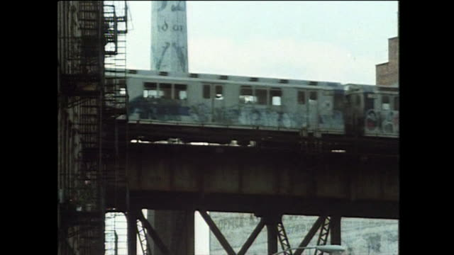 sequence of graffiti-covered trains in new york; 1984 - 1984 stock videos & royalty-free footage
