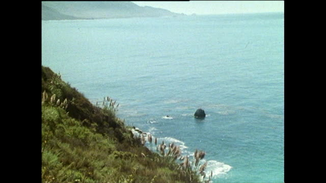 sequence of gvs of california's big sur coastline; 1986 - bbc archive stock-videos und b-roll-filmmaterial