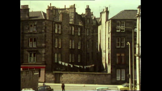 sequence of gvs of glasgow streets in 1976 - adults only videos stock videos & royalty-free footage