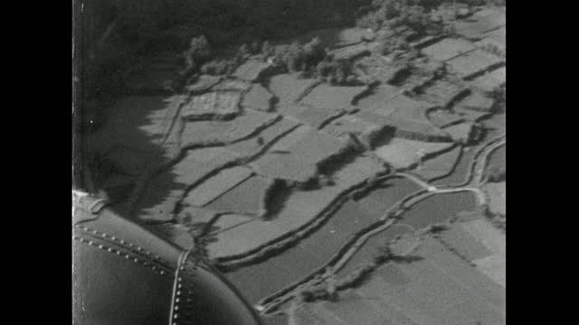 sequence of helicopter flight over japan landscape; 1967 - 1967 stock videos & royalty-free footage