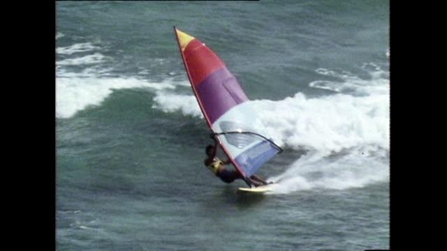 sequence of man windsurfing on waikiki beach; 1983 - windsurf video stock e b–roll