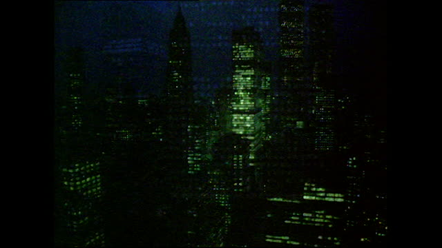 sequence of new york office buildings at night; 1972 - 1972 stock videos & royalty-free footage