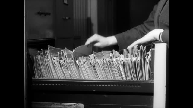 sequence of old technology in an office environment; 1963 - filing cabinet stock videos & royalty-free footage