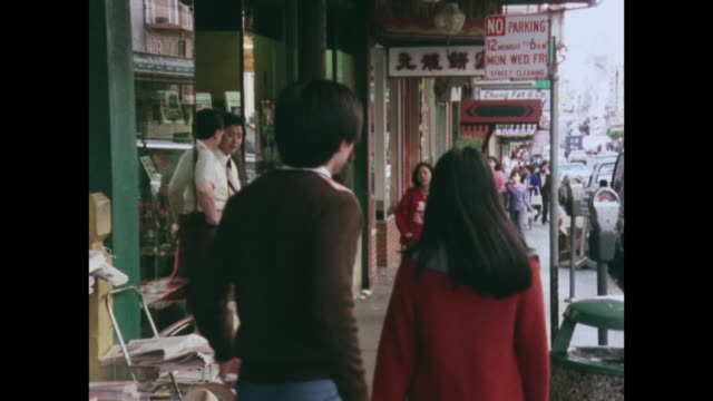 vídeos de stock e filmes b-roll de sequence of san francisco chinatown people and culture - 1970 1979