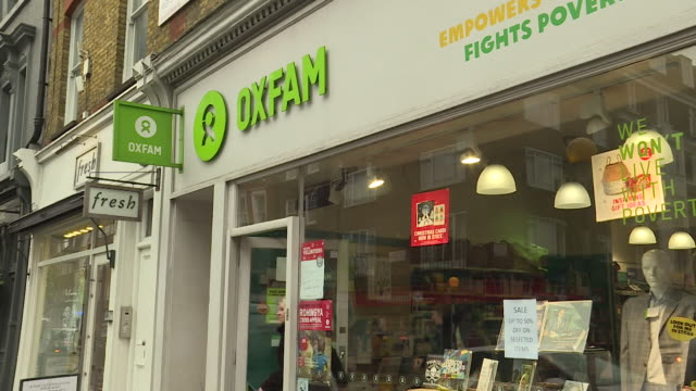 Sequence of shots of an Oxfam shop on a UK high street